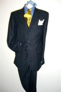 Suits in classic City style, navy shade, 2 button, pure wool, chalkstripe