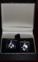 Masonic cufflinks, blue base with masonic motif