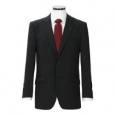 Plain black jacket, lightweight. 54% polyester, 44% wool, 2% lycra