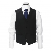 Black waistcoat, plain cloth, 54% polyester, 44% wool, 2% lycra