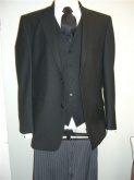 Masonic suit herringbone weave black jacket 100% wool /grey formal trouser wool poly mix.